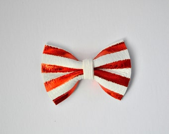 Red White Pinstripe TINY Leather Bow Clip Photo Prop for Girls Adorable Christmas Holiday Fall Clip for Little Girls Babies Toddlers Adults