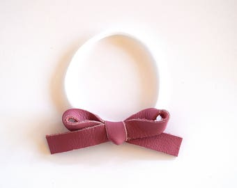 MAUVE LARGE Leather Bow OSFA Nylon Elastic Adorable Photo Prop for Newborn Baby Little Girl Child Adult Headwrap Holiday Fall Pink Bow