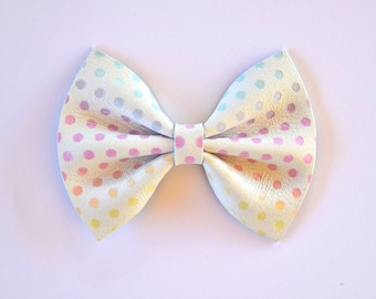 Pastel Polka Dot Easter Leather Bow Beautiful Adorable Clip for Newborn Baby Little Girl Child Adult Photo Prop Easter Pink Yellow Blue Clip
