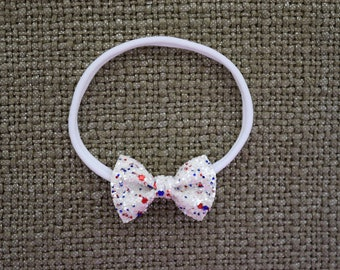 4th of July White Glitter TINY Bow Headband ONE SIZE fits All Adorable Photo Prop for Newborn Baby Little Girl Child Adult Red White Blue