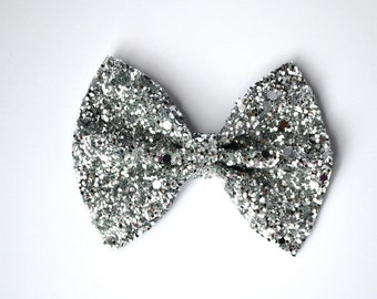 Silver Glitter Bow Photo Prop Pictures Headband for Newborn Baby Little Girl Child Adult Spring Summer Valentines Easter Clip