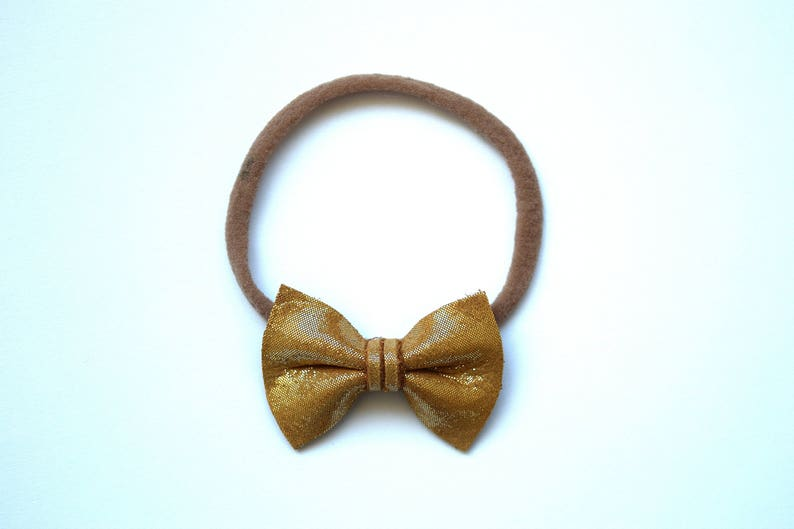 Sunkissed Metallic TINY Leather Bow Headband Photo Prop for Girls Adorable Holiday Bow for Little Girls Babies Toddlers Adults Holiday Bow