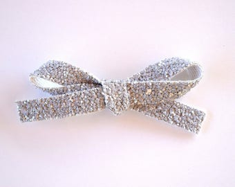 Grey GLITTER LARGE Bow Spring Summer Clip Adorable Photo Prop for Newborn Baby Little Girl Child Adult Holiday Headwrap Bow
