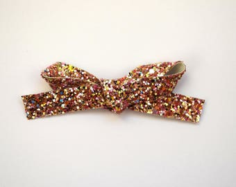 Gold Multi Glitter LARGE Leather Bow Clip Adorable Photo Prop for Newborn Baby Little Girl Child Adult Summer Headwrap Pretty Easter Bow