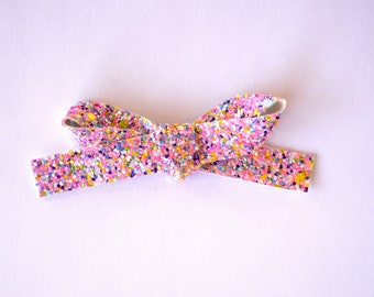 Pink Sherbet Glitter LARGE Bow Clip Adorable Photo Prop for Newborn Baby Little Girl Child Adult Pretty Pink Spring Summer Pretty Girl Clip
