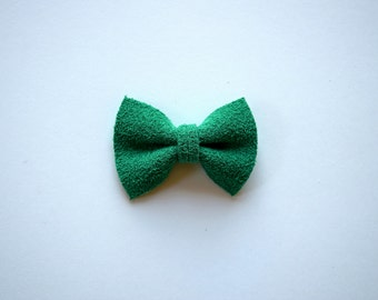 Green Suede TINY Leather Bow Clip Photo Prop for Girls Adorable Christmas Holiday Clip for Little Girls Babies Toddlers Adults