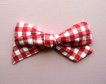 School Girl Red White Checkered Fabric LARGE Bow Clip Picnic Bow Adorable Photo Prop for Newborn Baby Little Girl Child 4th of July Bow Clip