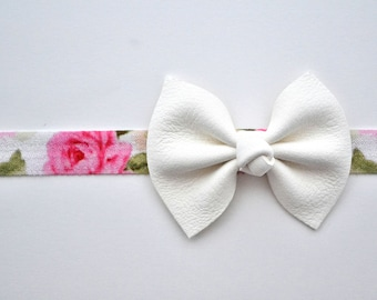 White Leather Flower Print Headband for Newborn Baby Child Little Girl Adult Adorable Photo Prop Summer Headband Pink White Ivory Bow