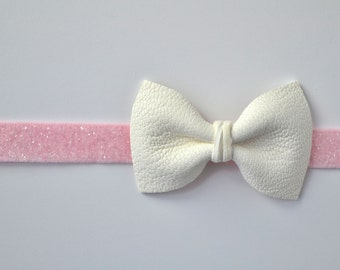 White Leather Bow Soft Pink Glitter Elastic Headband Photo Prop for Newborn Baby Little Girl Child Adult Spring Summer Glitter Headwrap