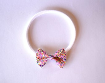 Sherbet Glitter TINY Bow Headband ONE SIZE fits All Adorable Photo Prop for Newborn Baby Little Girl Child Pink Spring Summer Headwrap