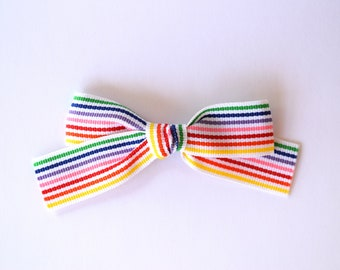 Rainbow Stripe Ribbon Extra Large Bow Clip for Newborn Baby Child Little Girl Photo Prop Adorable Beautiful Spring Summer Clip Headband