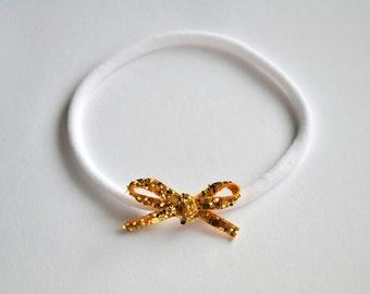Tiny Dainty Gold Glitter Bow Headband Photo Prop Headband for Newborn Baby Little Girl Child Spring Summer Nylon Headband OSFA