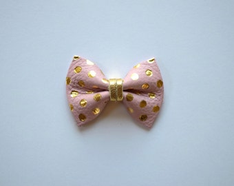 Blush Pink Gold Metallic Polka Dot TINY Leather Bow Clip Photo Prop for Girls Adorable Christmas Ballet Soft Pink Holiday Clip