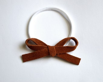 Cinnamon Suede LARGE Leather Bow One Size Fit All Elastic Adorable Brown Photo Prop for Newborn Baby Little Girl Child Adult Summer Headwrap