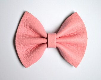Bubblegum Pink Leather Bow Beautiful Adorable Clip for Newborn Baby Little Girl Child Adult Photo Prop Pictures