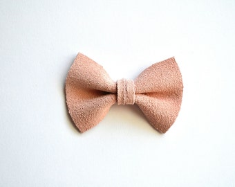 SUEDE PASTEL Ballet Pink TINY Leather Bow Clip Photo Prop for Girls Adorable Summer Easter Spring Clip for Little Girls Babies Toddler Bow