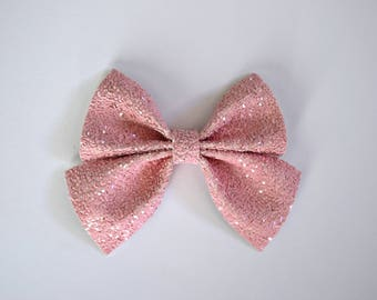 PHOEBE SAILOR PINK Matte Bow Adorable Photo Prop Pictures Headband for Newborn Baby Girl Child Valentines Day Easter Love Alligator Clip