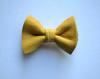 Mustard Leather Soft Clip Little Bow for Newborn Baby Child Little Girl Adult Photo Prop Adorable Fall Pictures