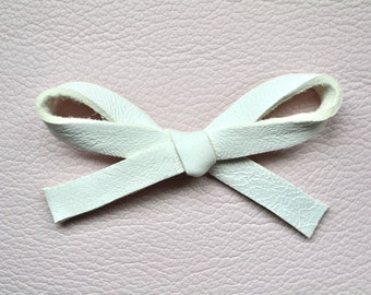 White Leather LARGE Bow Clip Adorable Photo Prop for Newborn Baby Little Girl Child Adult Headwrap Fall Holiday Blessing Baptism Pretty Bow