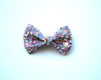 Silver MULTI Sparkly Glitter TINY Alligator Clip Little Bow for Newborn Baby Child Little Girl Adult Photo Prop Adorable Photo  Summer Clip