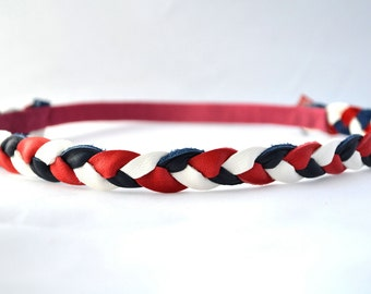 4th of July Red White Blue Leather Braided Heaband Newborn Baby Child Adult Photo Prop Headwrap Spring Summer for Little Girl Child