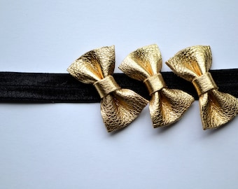 Gold Leather Headband Baby Toddler Photo Prop Adorable Beautiful Shiny Three Metallic Bow Trio Band for Newborn Little Girl Child Adult
