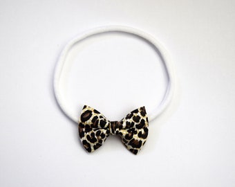 White Leopard Leather Bow Headband ONE SIZE fits ALL Adorable Photo Prop for Newborn Baby Little Girl Child Adult Summer Neutral Headwrap