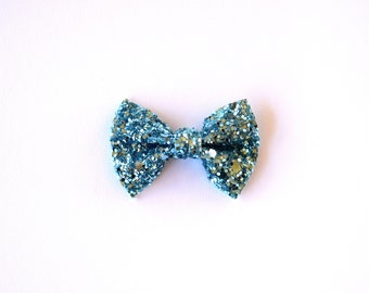 True Blue TINY Glitter Bow Clip Photo Prop for Girls Adorable Summer Blue Green Spring Clip for Little Girls Babies Toddlers Adults Bow