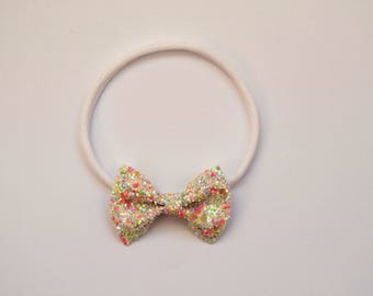 Exclusive Easter Glitter TINY Bow Headband ONE SIZE fits All Adorable Photo Prop for Newborn Baby Little Girl Child Headwrap Spring Bow