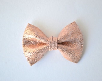 Rose Gold Metallic Leather Bow TINY Clip Photo Prop for Girls Adorable Summer Holiday Clip for Little Girls Babies Toddlers Adults