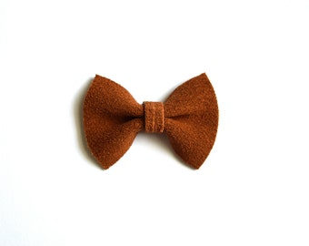 Cinnamon Suede Leather TINY Leather Bow Clip Photo Prop for Girls Adorable Summer Easter Spring Clip for Little Girls Babies Toddlers Adults
