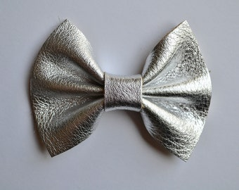 Silver Metallic Leather Bow Clip for Newborn Baby Child Little Girl Photo Prop Adorable Holiday Headband