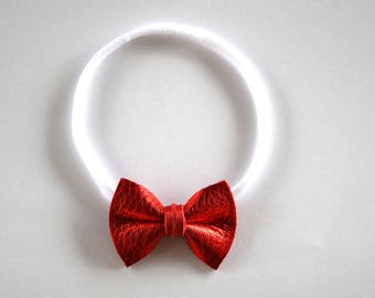 Red PATENT TINY Leather Bow Headband ONE size fits All Adorable Photo Prop for Newborn Baby Little Girl Child Adult Headwrap Pretty Bow