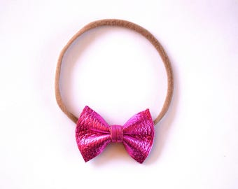 Hot Pink Metallic Leather Bow Headband ONE SIZE fits All Adorable Photo Prop for Newborn Baby Little Girl Child Summer Headwrap Pretty Bow