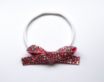 Pink Candy Glitter LARGE Leather Osfa nylon elastic headband Adorable Photo Prop for Newborn Baby Little Girl Child Adult Pretty Love Bow