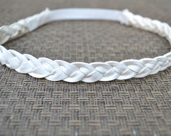 White Leather Braided Heaband Newborn Baby Child Adult Photo Prop Headwrap Beautiful for Little Girl Bow