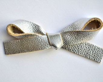 OVERSIZED Silver Metallic Leather Bow Clip Adorable Photo Prop for Newborn Baby Little Girl Child Adult Summer Headwrap Pretty Bow