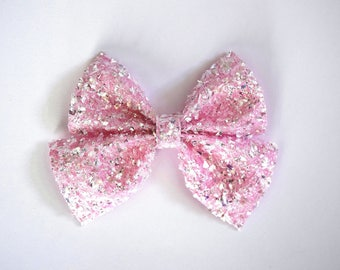 PHOEBE SAILOR Crushed Pink Ice Glitter Bow Adorable Photo Prop Clip for Baby Girl Child Adult Valentines Day Love Easter Alligator Clip