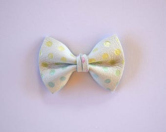 Pastel Polka Dot TINY Leather Soft Clip Beautiful Little Bow for Baby Child Little Girl Adult Photo Prop Adorable Spring Easter Pictures