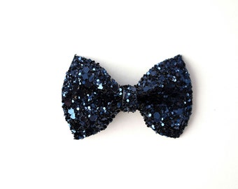 Navy Sparkly Glitter TINY Alligator Clip Bow for Newborn Baby Child Little Girl Adult Photo Prop Adorable Photo Christmas Holiday Clip