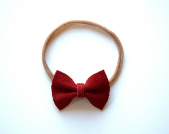 Red Suede TINY Leather Bow Headband ONE SIZE fits All Adorable Photo Prop for Newborn Baby Little Girl Child Adult Headwrap Pretty Bow