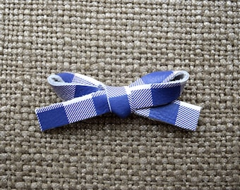 Purple/White Check LARGE Leather Bow Clip Adorable Photo Prop for Newborn Baby Little Girl Child Adult Summer Spring Headwrap Pretty Bow