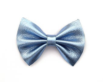 Sky Blue Metallic Leather Baby Bow for Newborn Baby Child Little Girl Adult Adorable Photo Prop Spring Summer Easter Blue Clip