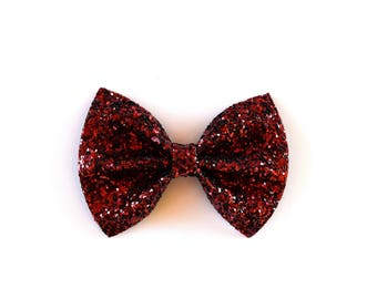 Burgundy Glitter Bow Beautiful Adorable Clip for Newborn Baby Little Girl Child Adult Photo Prop Thanksgiving Fall Clip