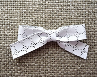 School Girl EYELET White Leather Bow Clip Adorable Photo Prop for Newborn Baby Little Girl Child Adult Headwrap Easter Pretty Bow Clip