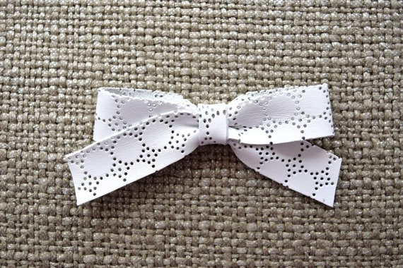 3ade50565dd School Girl EYELET White Leather Bow Clip Adorable Photo Prop