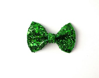 Green Sparkly Glitter TINY Alligator Clip Bow for Newborn Baby Child Little Girl Adult Photo Prop Adorable Photo Christmas Holiday Clip