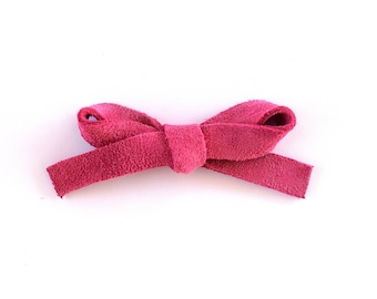 PEONY Pink LARGE Suede Bow Clip Photo Prop for Newborn Baby Little Girl Child Adult Summer Headwrap Fall Holiday Pretty Bow