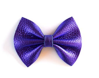 Purple Metallic Leather Bow Beautiful Adorable Clip for Newborn Baby Little Girl Child Adult Photo Prop Spring Summer Holiday Clip