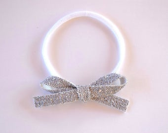 Grey Glitter Bow Headband OSFA nylon elastic Adorable Photo Prop for Newborn Baby Little Girl Child Adult Headwrap Pretty Spring Summer Bow